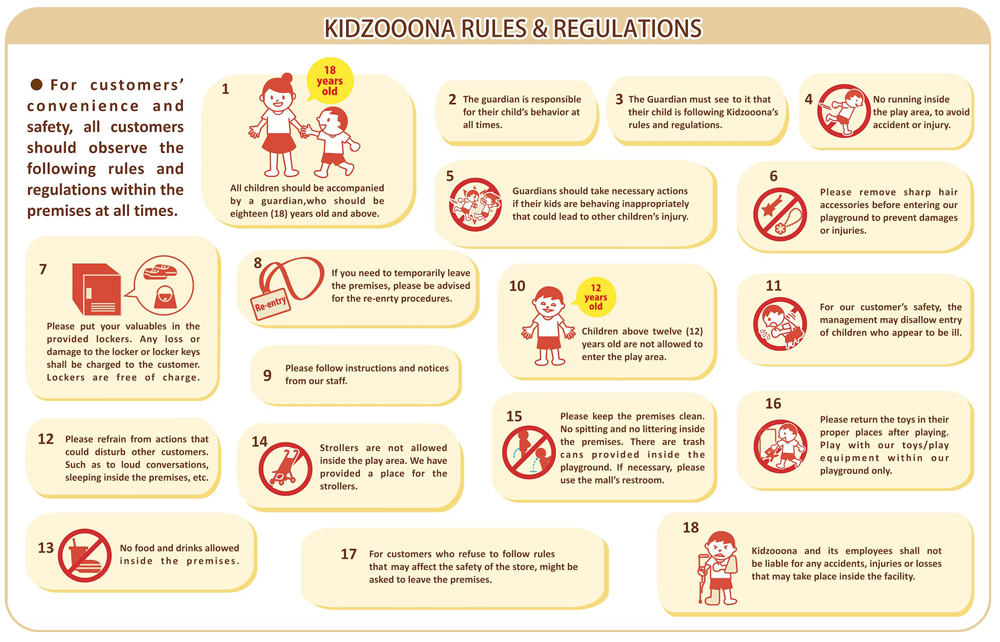 Kidzooona Rules and Regulations